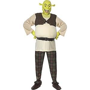 Shrek Kostüm enthält Oberteil Hose Hände und Maske, Medium