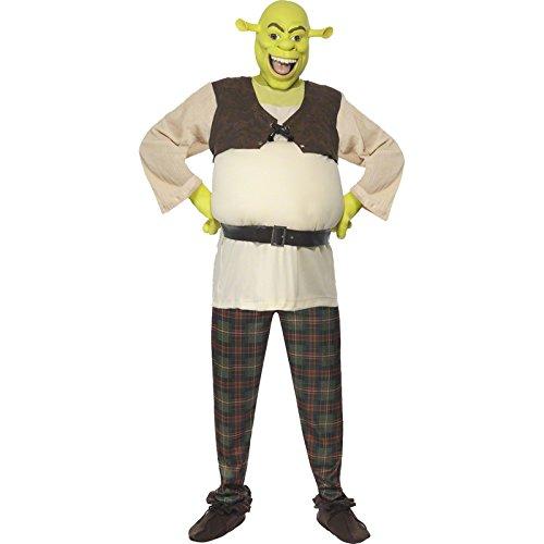 Smiffys Shrek Kostüm enthält Oberteil Hose Hände und Maske, Medium