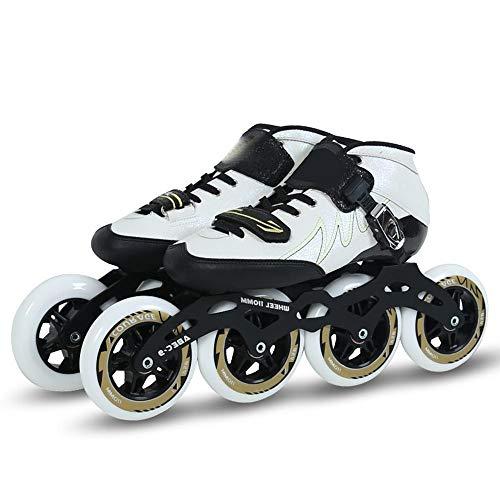 NUYAN Roller SkatesSpezielle einstellbare Eisschnelllaufschuhe für Kinder Professionelle Erwachsenen-Renn-Rollschuhschuhe Große runde Wettkampftrainings-Skates