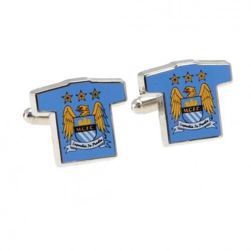 Manchester City FC Gemelli da camicia - metal Gemelli - camicia a forma - circa 20 mm x 15 mm - in confezione regalo - prodotto con licenza ufficiale
