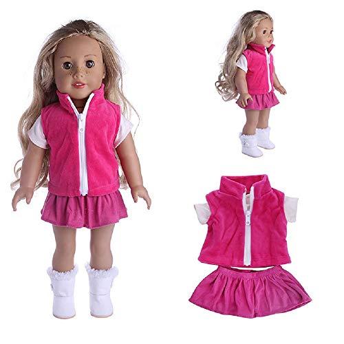 MM Ropa de muñeca Invierno para muñecas American Girl de 16-18 Pulgadas, Chaleco, Camisa, Falda Ropa Set 18 Pulgadas American Girl Dolls (Rosa)