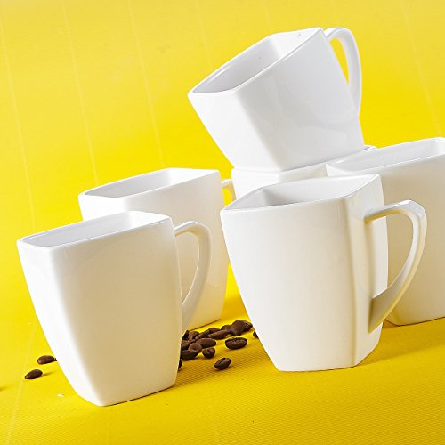 Porzellan Kaffeetassen Set, Malacasa, Serie Blance, 12 teilig Set Kaffeeservice Cremeweiß 350ml...
