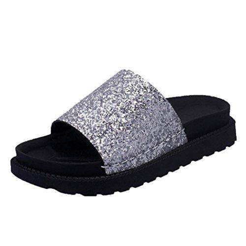 DIKEWANG Women Ladies Sequins Flat Non-Slip Soft Flat Slipper Flip Flop Sandal Beach Shoes Wedge Platform Sandals