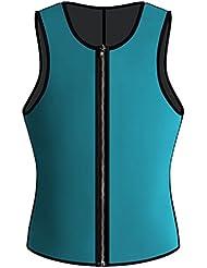 Lorembelle camiseta para hombre tanque de de neopreno con cremallera de 10mm para la pérdida de peso, muscular edificio, cardio Resistencia y fuerza muscular, azul