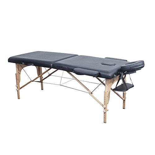 Jalano Massage Liege in 5 Farben - 2-Zonen Therapie Massagetisch Holz - 70 cm Breite - Höhenverstellbar (Armlehne + Kopfstütze) - Zusammenklappbar + Transporttasche (Schwarz)