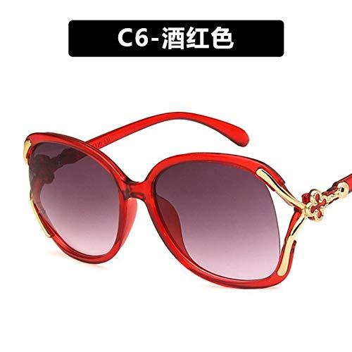 CYCY Sonnenbrille weibliche Hipster Brille Damen Sonnenbrille Augen rundes Gesicht schwarz, C6-weinrot