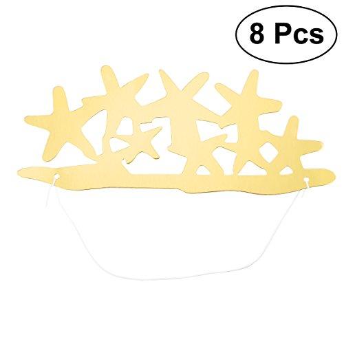 BESTOYARD 8 stücke Glitter Star Birthday Party Papier Hüte DIY Handwerk Hut für Kinder Erwachsene (Gold)