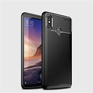 TANYO Xiaomi Mi Max 3 Hülle Geschäfts Carbon Fibre Silikon Schutzhülle, Leicht & Dünn TPU Gel Handyhülle [Stoßfest, Anti-Fingerabdruck] Case, Cover für Xiaomi Mi Max 3 (Schwarz)