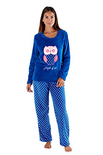 - 412 FEfUQ1L - Ladies Full Fleece Winter Pyjama Set ~ Unicorn, Owl, Sweet Dreams.