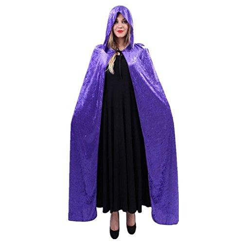 Zauberer Kap-Schal-Halloween-Party-Kapuzenumhang Mantel Wicca Robe Kapuzen-Umhang Cape (Lila Kostüme Kapuzen Erwachsene Robe)