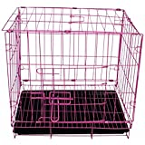 SRI Metal Durable Dog Cage With Removable Tray-24Inch, Pink