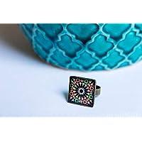 Anillo Alhambra - Mosaico Flor Negra - Cerámica Colores Fotografía Resina ecológica 18mm - Regalos originales para mujer - Aniversario - Regalo reyes- Prime