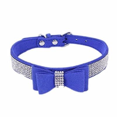 Hmeng Hundehalsband, Hunde Katze Welpen Bowknot Diamant Strass Halsband Halsbänder Verstellbar Halskette für Haustier Hunden Katzen