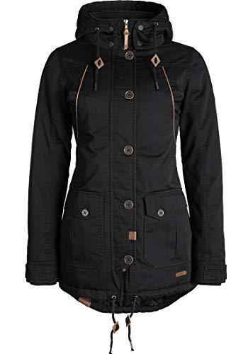 DESIRES Annabelle Damen Übergangsparka Parka Übergangsjacke Lange Jacke mit Kapuze, Größe:L, Farbe:Black (9000)