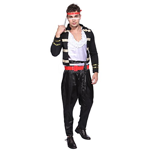 Low Cost Adam Ant Pop 80s Star Costume
