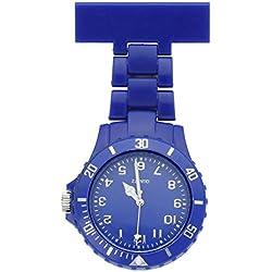 JSDDE Women's Girls' Fashion Nurse Clip-on Fob Brooch Lapel Hanging Pocket Watch, Deep Blue
