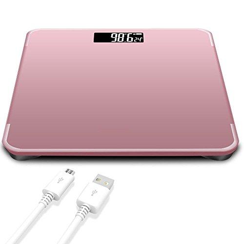 Personenwaage Bewertung (HT Glaswaagen Sehr genau Badezimmer schlankem Design Schlank Gewicht Fett Zahlen Elektronisch Küche Digitale Gesund Der Bildschirm wird automatisch ein- / ausgeschaltet , Rosa , 28cm*28cm*2.5cm)