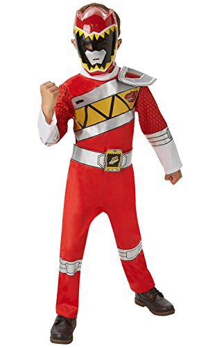 "Power Ranger Kostüm Red Rangers (Rubie's offizielles Kinderkostüm ""Power Rangers Dino Charge Deluxe Ranger"" – Rot, 7–8)"