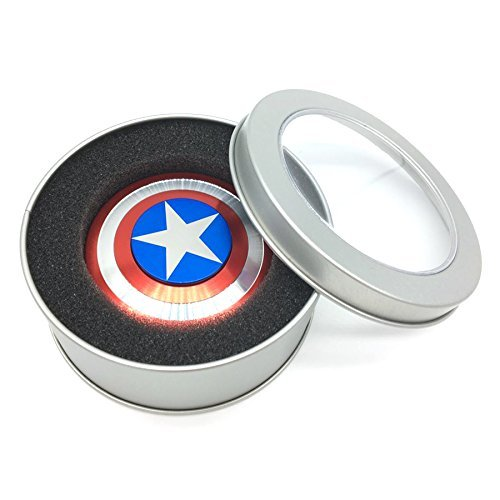 The Anti-Anxiety 360 Spinner Fidget Toy Captain America Marvel Super Heroe Shield Helps Focusing Premium Quality EDC for Kids & Adults Stress Reducer Relieves ADHD Anxiety Boredom Ceramic Cube Bearing - 5