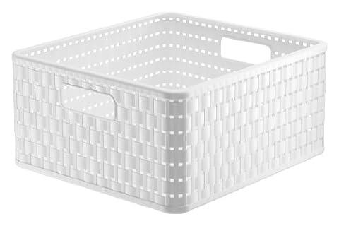 Rotho 1116801100 Aufbewahrungskiste Dekobox Country in Rattan-Optik aus Kunststoff (PP), quadratisch, Inhalt ca. 14 l, ca. 32.8 x 30 x 16 cm (LxBxH),