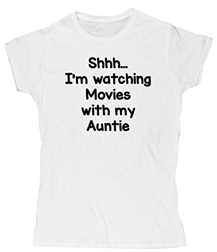 Hippowarehouse Shhh… I'm Watching Movies with My Auntie Womens Fitted Short Sleeve t-Shirt (Specific Size Guide in Description)
