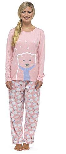 Damen Eisbär Glitzer Aufdruck Weihnachten /Winter Pyjama Set mit Vlies-böden - Rosa, Large (Weihnachts-pyjama-böden)