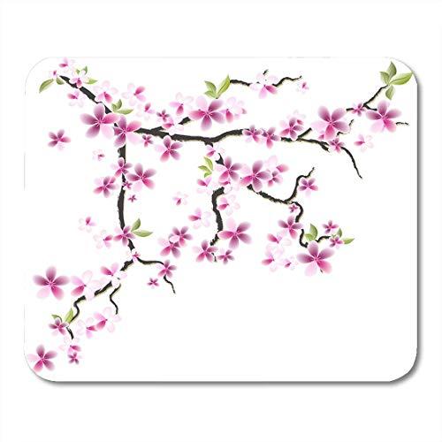 Orientalische Blättern (Luancrop Mauspads Rote Blüten-Grün-Blatt-orientalischer Kirschzweig mit Blumen und Blättern 8 Rosa chinesische Baum-Mausunterlage für Notizbücher, Tischrechner-Mausunterlagen, Bürozubehöre)