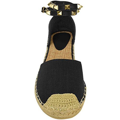 Femmes Dames Cheville À Lanières Sandales Plates Espadrilles De L'été Rock Clou Chaussures Pointure Noir Jute