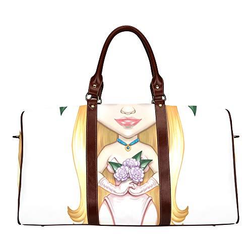 Reise-Seesack Porträt eines schönen Mädchens Tod wasserdichte Weekender Tasche über Nacht Carryon Handtasche Frauen Damen Einkaufstasche mit Mikrofaser Leder Gepäcktasche
