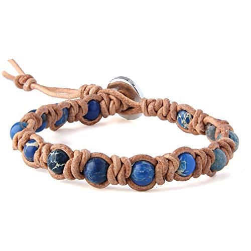 KELITCH Kreierte Türkis Perlen Armbänder Handgefertigte Leder Wickelarmbänder Schicker Modeschmuck - Dunkelblau - Mit Türkis-perlen Armband