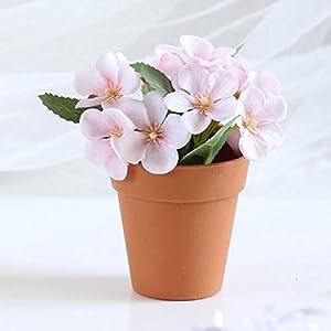 Duk3ichton Flor Artificial Planta Artificial Begonia Fake Maceta En Maceta Bonsai Partido Decoración De Mesa Decoración…
