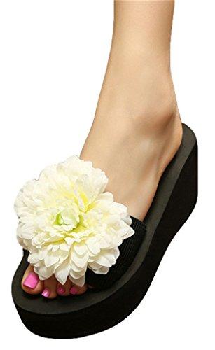 Good Night Pantoufles de sandales de plage de ruban élastique de plate-forme avec la grande fleur Blanc
