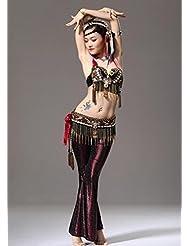 Vientre de las señoras traje de baile conjunto estilo tribal , l , red