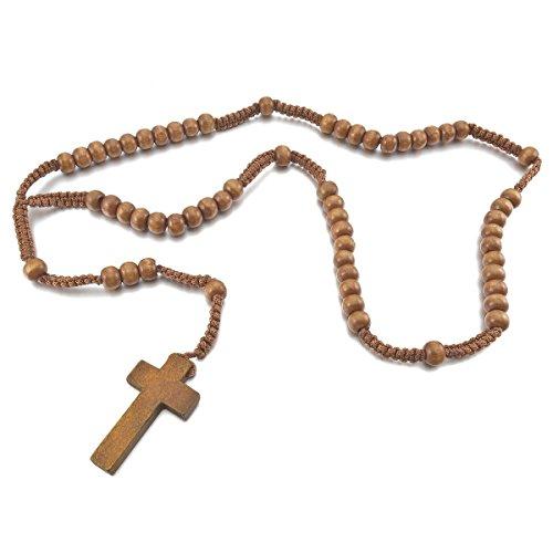 MunkiMix Holz Anhänger Halskette Braun Kruzifix Kugel Perle Perlen 24 Zoll Rosenkranz Kette Herren,Damen