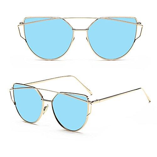 MinegRong Frauen Cat Eye Sonnenbrille Damen Klassische Twin-Beams Spiegel Sonnenbrille Flat Panel Linse Retro De Sol Männlich, SL6608 C6 Gold Blau -