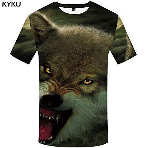 aba1851cb6 KYKU Marchio Wolf Maglietta Bellezza T-Shirt Girl Maglietta Top Tees  Abbigliamento Uomo Funny Top