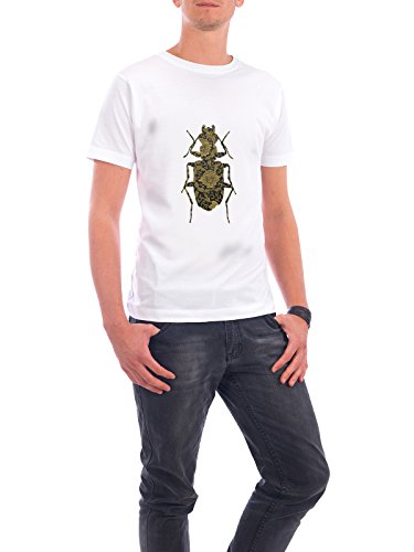 "Design T-Shirt Männer Continental Cotton ""Gold Beetle I"" - stylisches Shirt Tiere Abstrakt Floral Geometrie Natur Fashion von Paper Pixel Print Weiß"