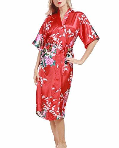 Women s Peacock Nightwear Pyjamas Silk Satin Blossoms Robe Bathrobe  Nightdresses Soft Kimono Gown Red M d8a9a5e9d