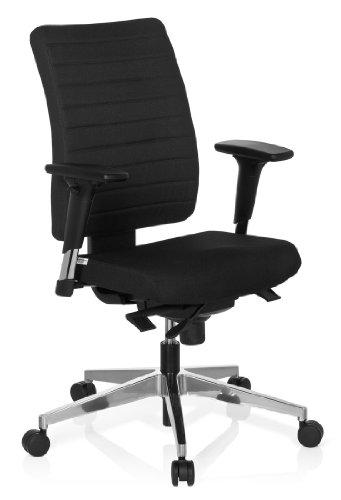 hjh OFFICE 608814 Bürostuhl Drehstuhl PRO-TEC 350 Stoff schwarz, Bürodrehstuhl ergonomisch, extrem robuster Stoff, Rückenlehne höhenverstellbar, verstellbare Armlehnen, Schreibtischstuhl