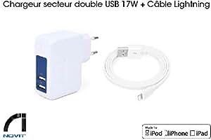 [Certifié Apple] Chargeur secteur double USB 17W + Cable Lightning plat pour iPhone 6s/6/5/5s5c - iPad Retina/iPad mini/iPad Air