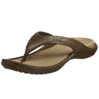 Crocs Unisex Athens II Chocolate and Khaki Flip Flops and House Slippers - M8W10