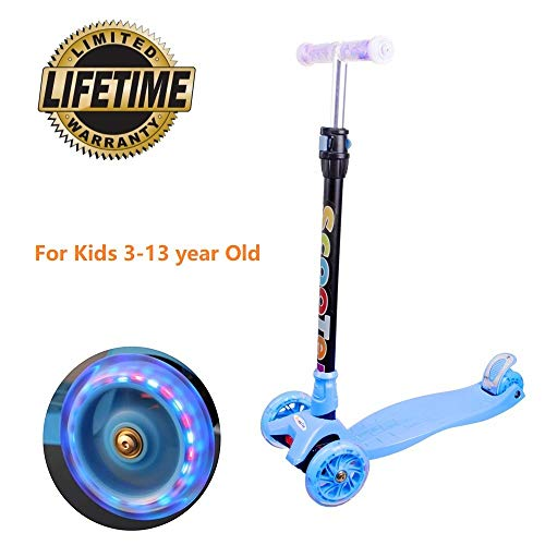 Yuanj monopattino per bambini, scooter a 3 ruote con ruote lampeggianti in, piegarsi per sterzare, monopattino con 4 altezze regolabili, di con freno di sicurezza posteriore