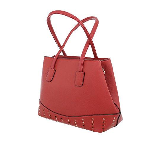 iTal-dEsiGn Damentasche Mittelgroße Schultertasche Handtasche Kunstleder TA-K701 Rot