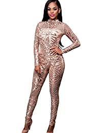 56d96a97cfe YOUJIA Women Sequin Catsuit High Neck Playsuit Transparent Jumpsuit Club  Wear Tight One-Piece