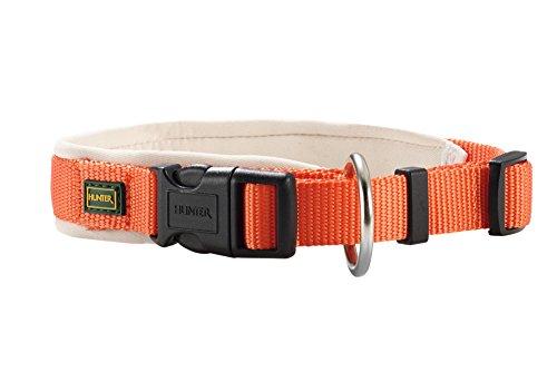 HUNTER Neopren Vario PlusHalsung, Halsband für Hunde, Nylon, mit Neopren gepolstert, 35/2,0, orange/creme -