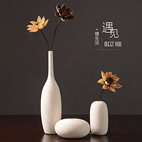 Maivas Vase White Ceramic Ornaments Modern Simple European Dry Flowers, A Three - Piece + Dry Flowers