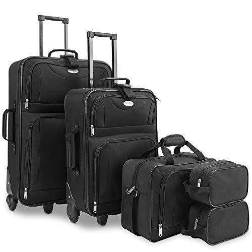 Deuba Conjunto de equipaje de viaje 5 piezas 2 maletas 1 bolsa 2 bolsas de maquillaje con ruedas asas mango telescópico