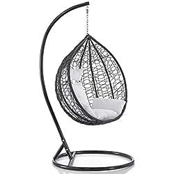 Sedia a dondolo sospesa per interno e esterno con cuscino Modello Elettra