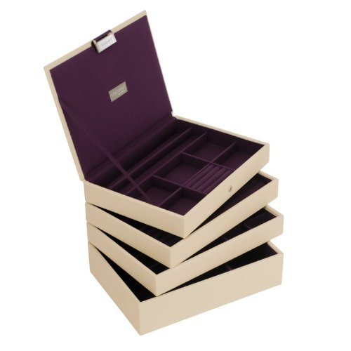 STACKERS Set of 4 'CLASSIC SIZE' Cream STACKER Set of 4 Jewellery Box with Purple Lining