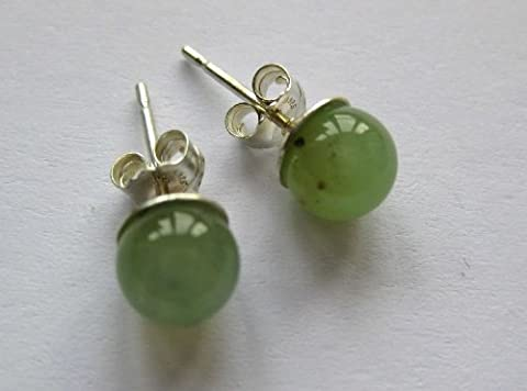 6 MM Round Stud Earrings - 925 Sterling Silver / Chrysoprase